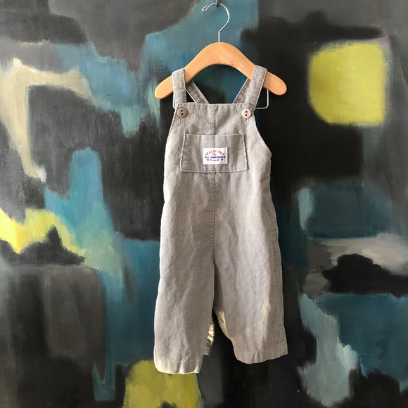 healthtex Other - Vtg 1970s Grey Corduroy Baby Overalls 12 Months 1T